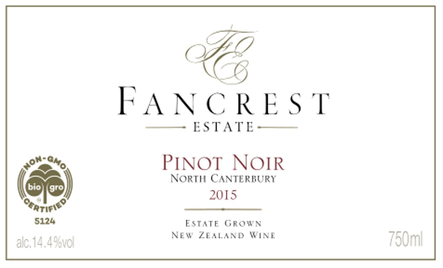 Fancrest Estate Pinot Noir 2015